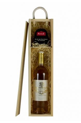 Single Wooden Wine Gift Box + Rougie Bloc Of Duck Foie Gras 75g