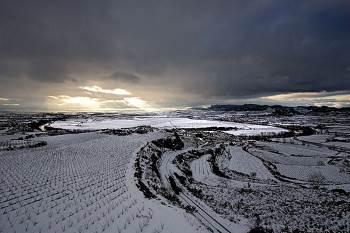 lopez de heredia vineyards covered in winter snow
